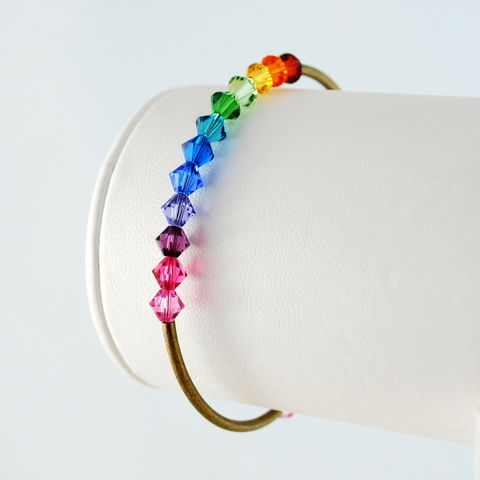 Rainbow,Bangle,with,Swarovski,Crystals,in,Antiqued,Brass,rainbow bracelet, rainbow bangle, rainbow jewelry, crystal bracelet, crystal bangle, crystal jewelry, Swarovski crystal, colorful bracelet
