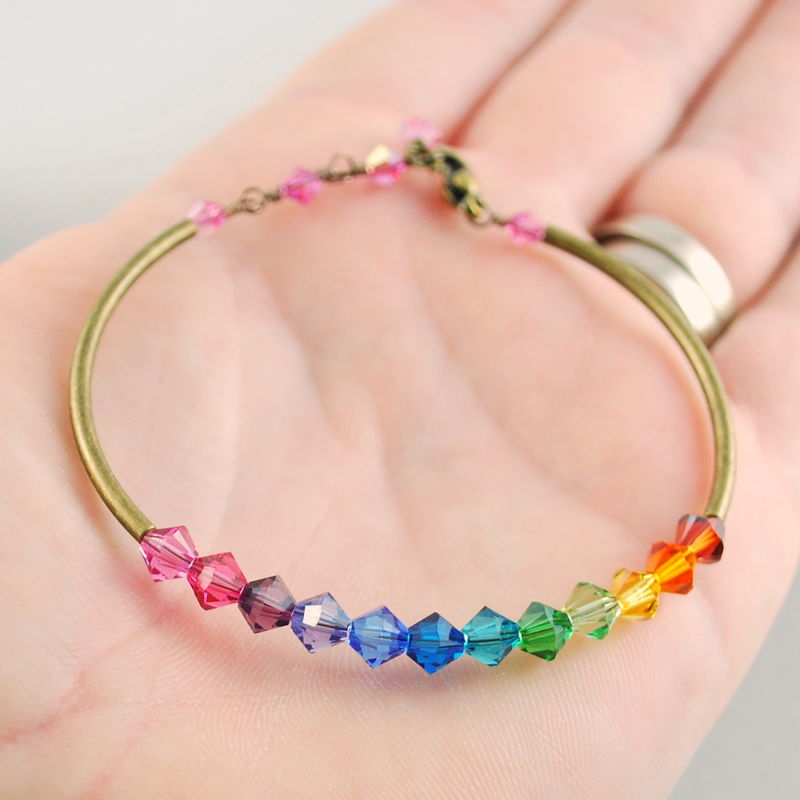 Rainbow Bangle with Swarovski Crystals in Antiqued Brass - product images  of