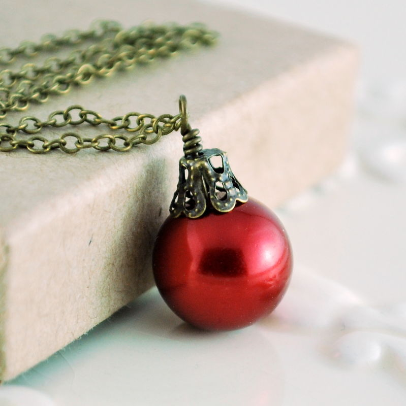 Red Christmas Ball Earrings in Antiqued Brass - product images  of