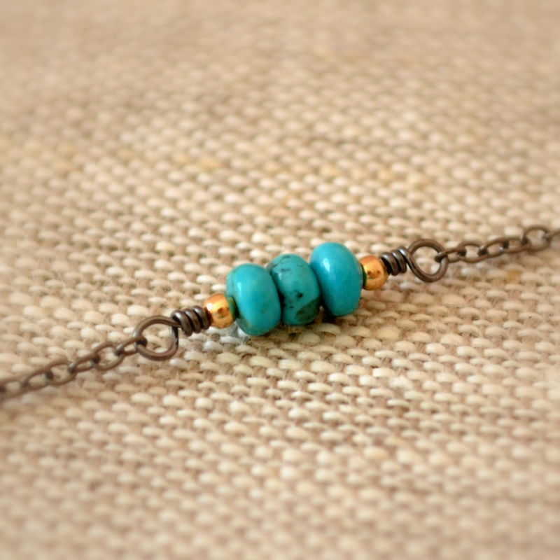 Turquoise Choker Necklace with Gold and Black Chain - product images  of