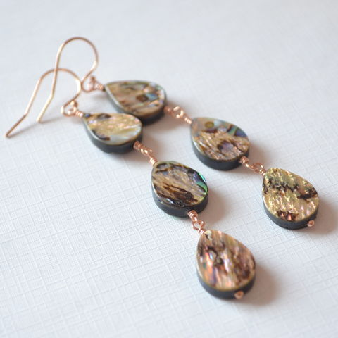 Long,Abalone,Shell,Earrings,in,Rose,Gold,abalone earrings, abalone jewelry, paua shell, dangle earrings, rose gold, beach jewelry, summer earrings