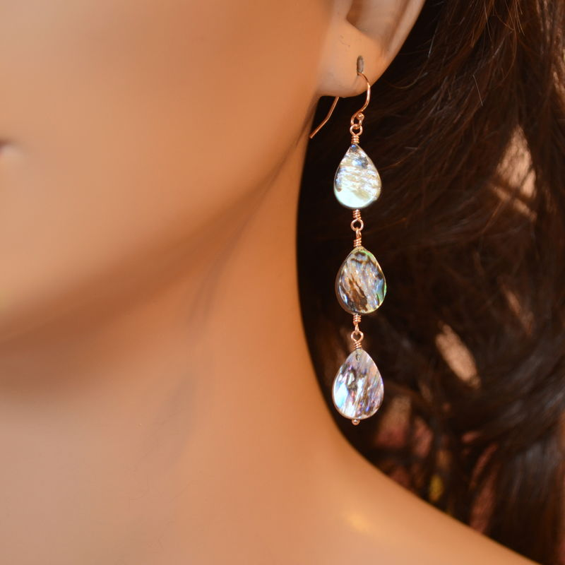 Long Abalone Shell Earrings in Rose Gold - product images  of