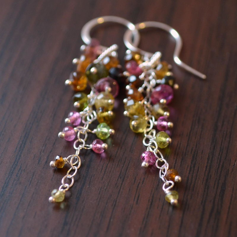 Tourmaline Cluster Earrings in Sterling Silver - product images  of
