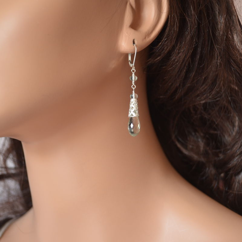 Green Amethyst Teardrop Earrings with Sterling Silver Cones - product images  of