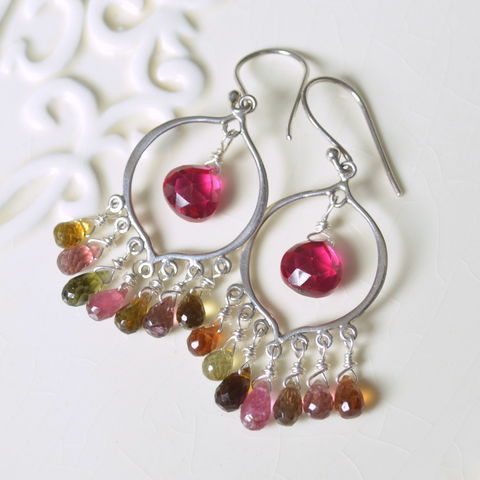 Chandelier,Earrings,with,Tourmaline,and,Hot,Pink,Quartz,chandelier earrings, tourmaline earrings, gemstone earrings, silver earrings, sterling chandeliers