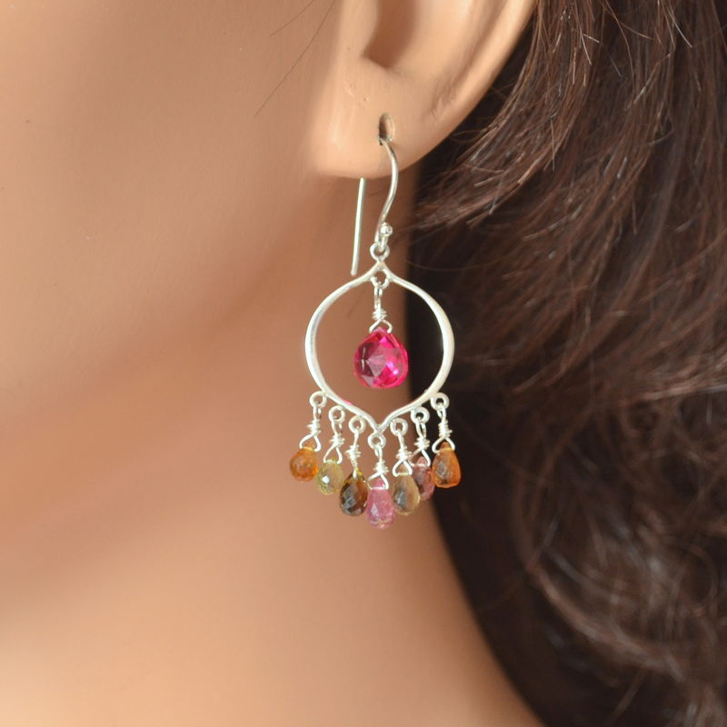 Chandelier Earrings with Tourmaline and Hot Pink Quartz - product images  of
