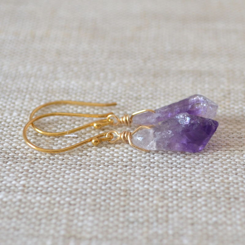 Drop Earrings with Raw Amethyst in Gold - product images  of