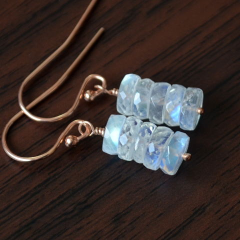 Moonstone,Earrings,on,Rose,Gold,Earwires,jewelry, earrings, moonstone, rainbow, gemstone, rose gold, gold filled, dainty
