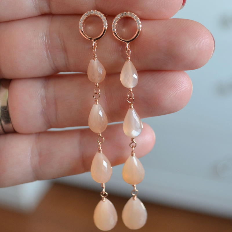 Long Peach Moonstone Earrings in Pink Gold - product images  of