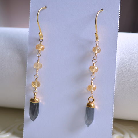 Citrine,and,Grey,Moonstone,Earrings,in,Gold,citrine earrings, citrine jewelry, grey moonstone, moonstone earrings, long gold earrings, gemstone earrings