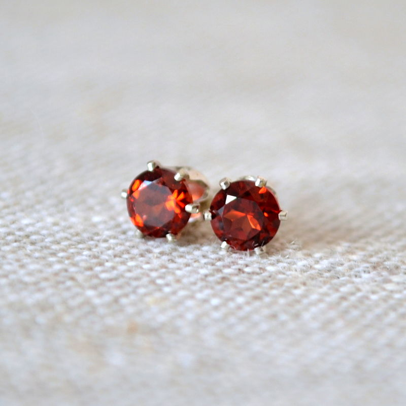 Garnet Stud Earrings in Sterling Silver - product images  of