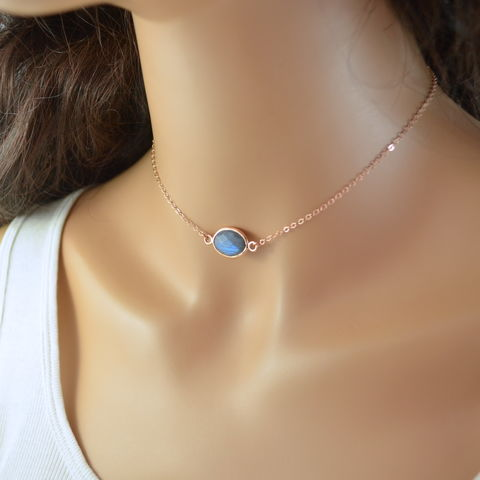 Labradorite,Choker,Necklace,in,Rose,Gold,labradorite choker, labradorite necklace, gemstone necklace, gemstone choker, rose gold choker, rose gold necklace