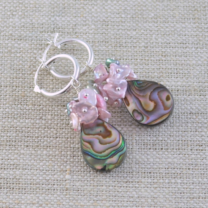 Abalone Hoop Earrings with Keishi Pearls - product images  of