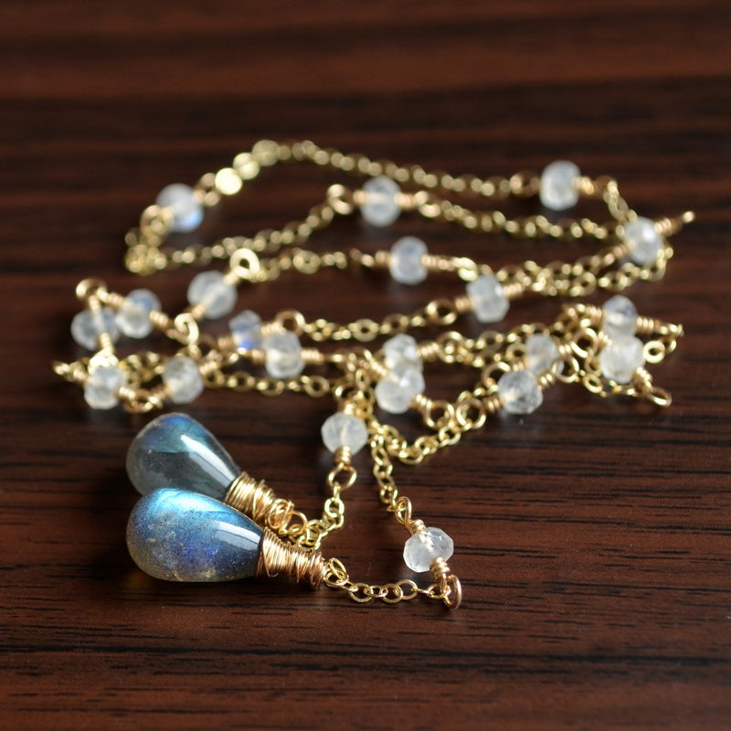 Moonstone and Labradorite Lariat Necklace in Gold - product images  of