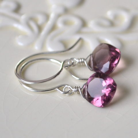 Plum,Quartz,Earrings,in,Sterling,Silver,jewelry, earrings, sterling silver, plum, quartz, gemstone, drop, simple, cushion cut