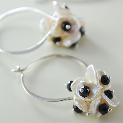Black,and,White,Pearl,Earrings,,Hoops,,Keishi,Spinel