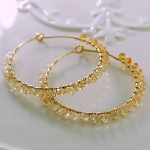 Citrine,Hoop,Earrings,Wrapped,in,Gemstones,and,Gold,Jewelry,gold_filled,wire_wrapped,gemstone,semiprecious,pretty,feminine,citrine,pale,deep_yellow,shaded,gold_jewelry,gold_hoops,gold_earrings,gold_fill