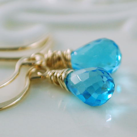 Swiss,Blue,Topaz,Earrings,in,Gold