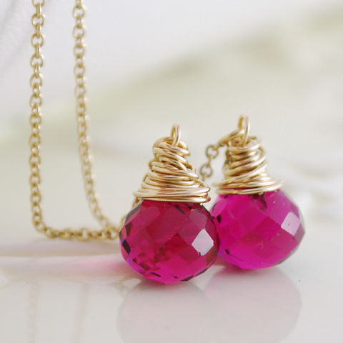 Hot,Pink,Quartz,Threader,Earrings,in,Gold,handmade, wire wrapped, jewelry, jewellery, quartz, threader, earrings, hot pink, fuchsia, gold, gold filled, bright, colorful, colourful