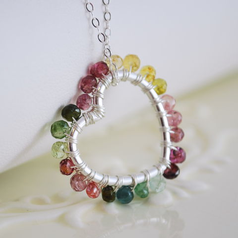 Heart,Shaped,Tourmaline,Necklace,in,Sterling,Silver,necklace, sterling silver, tourmaline, October, birthstone, colorful, pink, green, yellow, gemstone, genuine, floating, heart