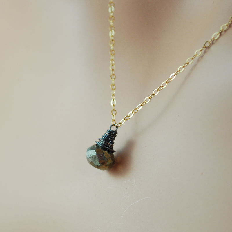 Mixed Metals Pyrite Necklace in Oxidized Silver and Gold - product images  of