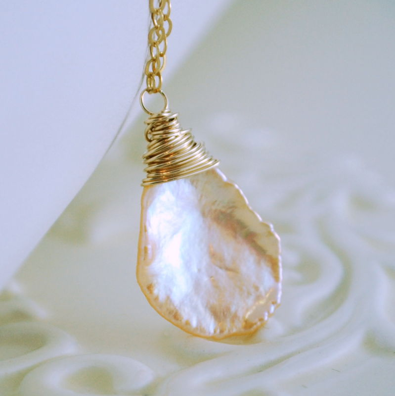 Peach Keshi Pearl Necklace in Gold - product images  of