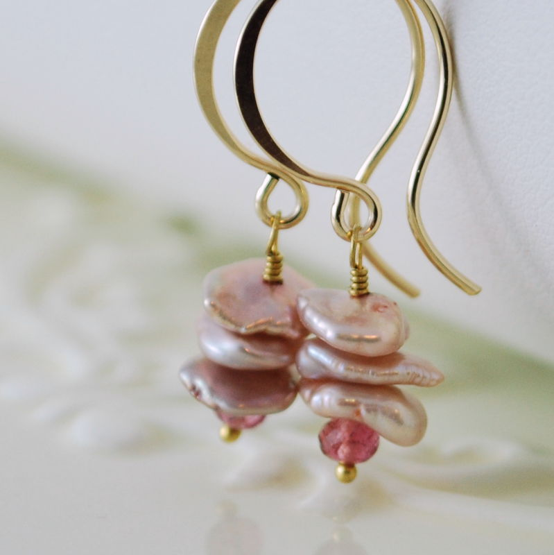 Pink Keishi Pearl Earrings with Tourmaline in Gold - product images  of