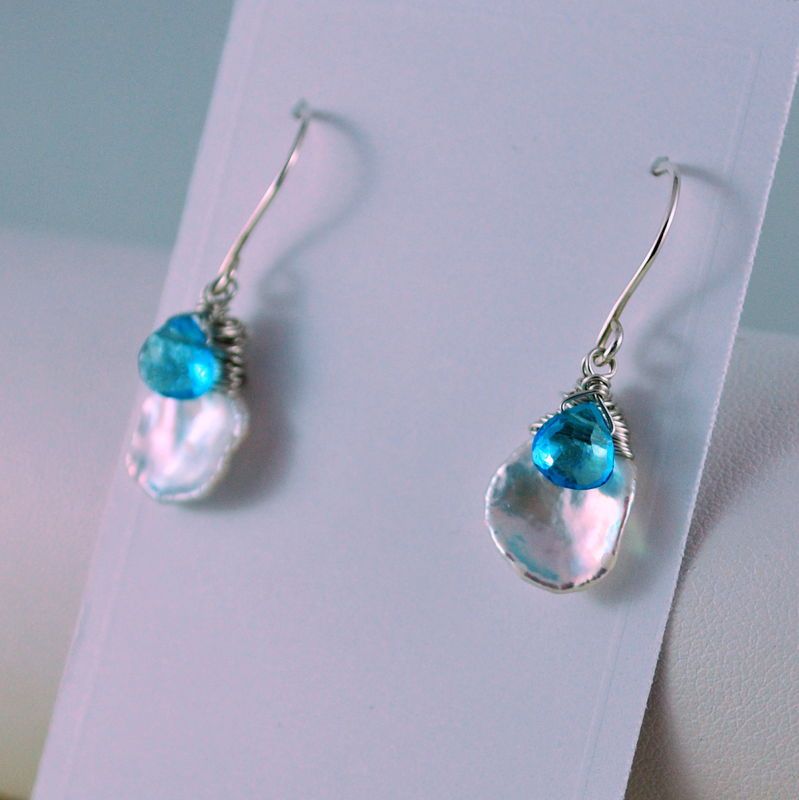 Keishi Pearl Earrings with Swiss Blue Topaz Sterling Silver Jewelry - product images  of
