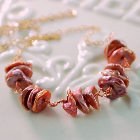 Keishi,Pearl,Necklace,Copper,Rose,Keshi,Choker,Gold,Jewelry,jewellery, jewelry, handmade, wire wrapped, necklace, gold, gold filled, keishi, keshi pearl, freshwater, copper, rose, pink, mixed metal, elegant