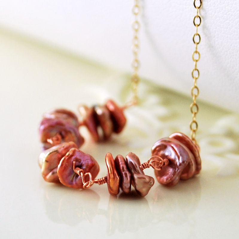 Keishi Pearl Necklace Copper Rose Keshi Choker Gold Jewelry - product images  of