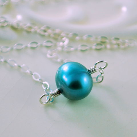 Freshwater,Pearl,Choker,Teal,Necklace,Minimalist,Sterling,Silver,Jewelry,jewelry, jewellery, handmade, wire wrapped, necklace, choker, sterling silver, freshwater pearl, genuine, natural, real, teal, blue, green, minimalist, simple