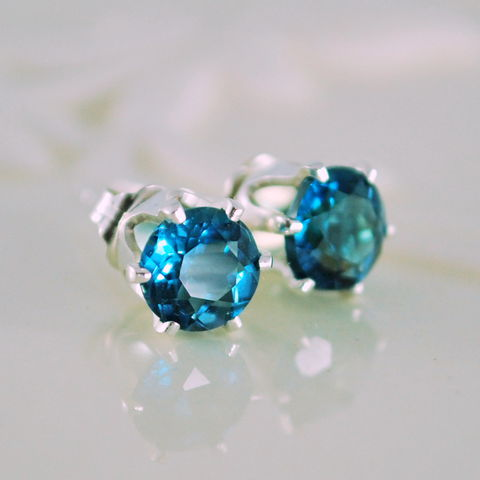 Stud,Earrings,Genuine,London,Blue,Topaz,Gemstone,Sterling,Silver,jewelry, jewellery, handmade, wire wrapped, earrings, studs, london blue topaz, December birthstone, gemstone, semiprecious, deep teal, luxe, sterling silver