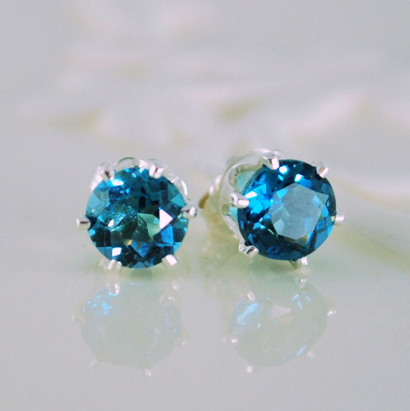 Stud Earrings Genuine London Blue Topaz Gemstone Sterling Silver - product images  of