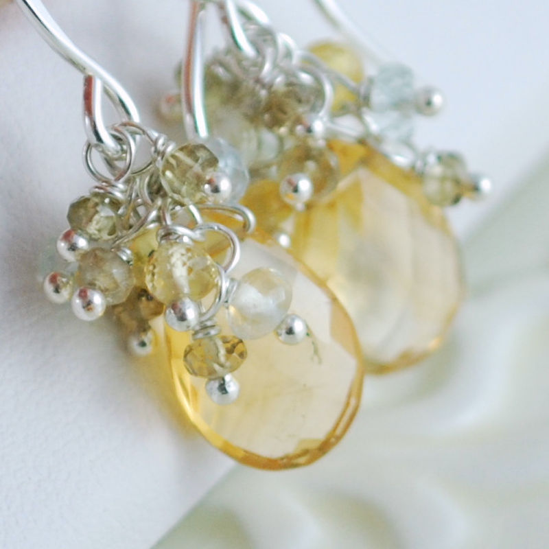Citrine Earrings with Colour Change Garnets, Sapphires, Prehnite and Aquamarine - product images  of