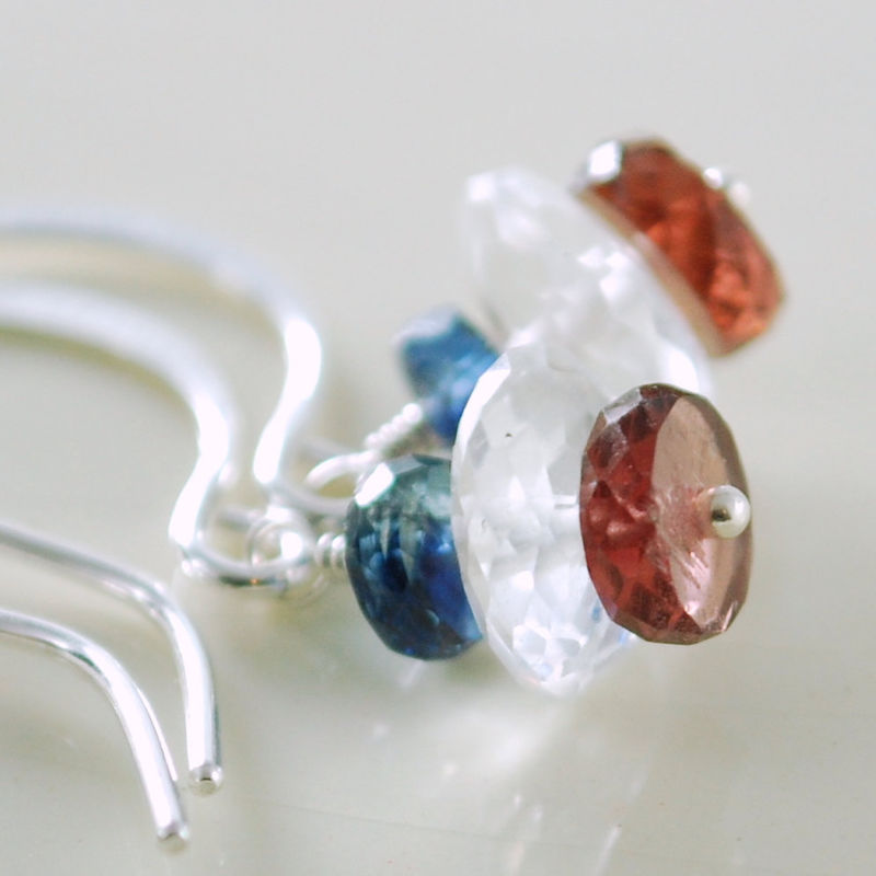 Semiprecious Stone Earrings Nautical Kyanite Crystal Quartz and Garnet Sterling Jewelry - product images  of