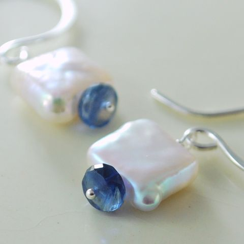 Square,Freshwater,Pearl,and,Kyanite,Earrings,jewelry,earrings,wire_wrapped,gemstone,genuine,freshwater_pearl,luster,sterling_silver,simple,summer,kyanite,royal_blue,square_coin,petite