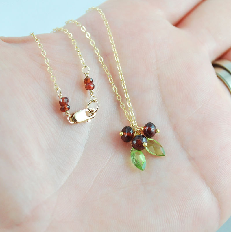 Red Holiday Necklace with Garnets and Peridots in Gold - Holly for Christmas - product images  of