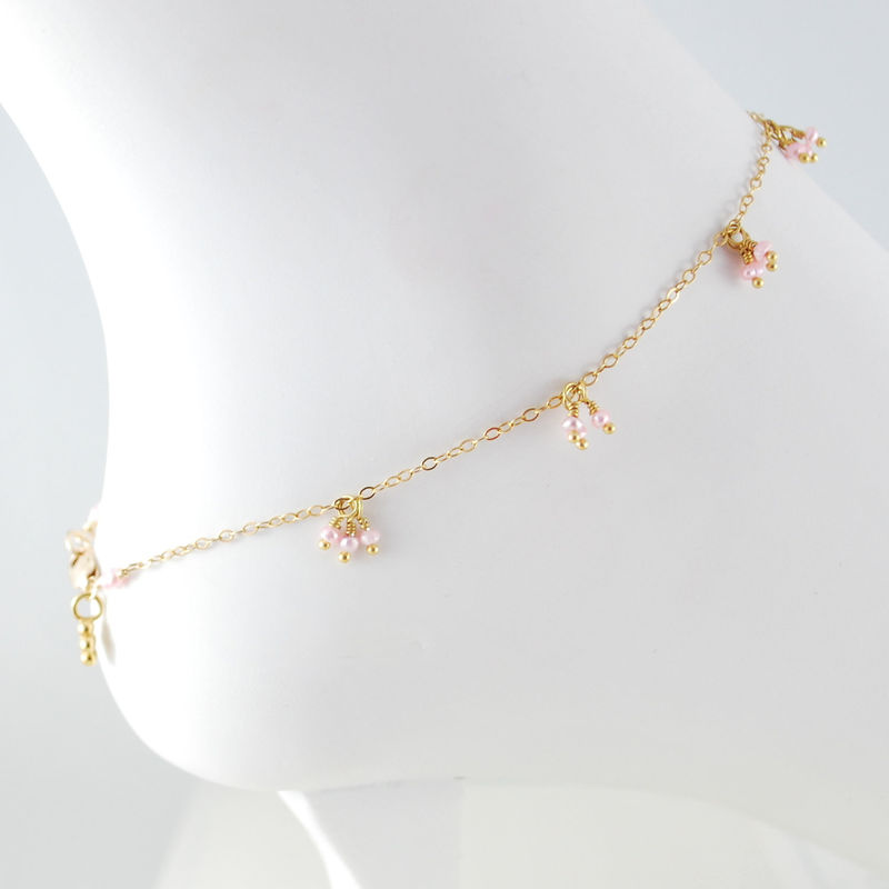 Pink Pearl Anklet Delicate in Gold with Daisy - product images  of