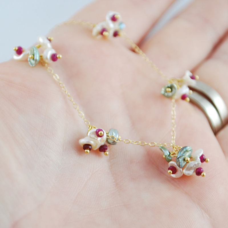 Christmas Jewelry Ruby and Keishi Pearl Blossoms Necklace in Gold - product images  of