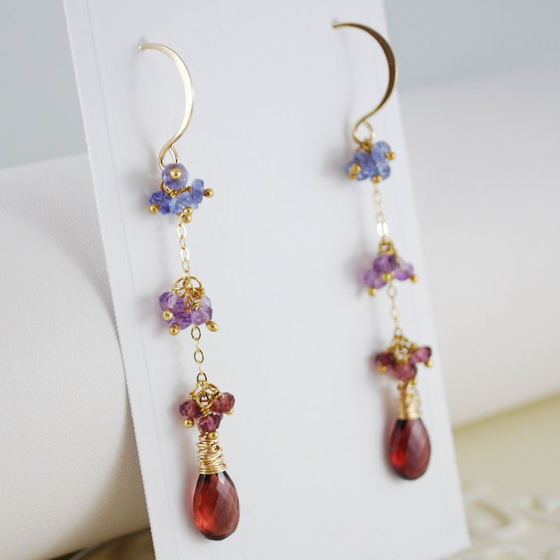 Garnet Earrings with Tanzanite Amethyst and Rhodolite Garnet Gold Jewelry - product images  of