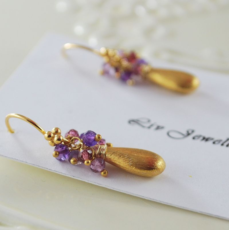 Rhodolite Garnet and Amethyst Cluster Earrings with Brushed Gold Teardrops - product images  of