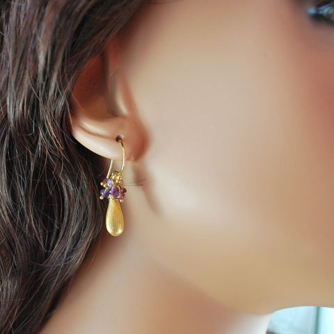 Rhodolite,Garnet,and,Amethyst,Cluster,Earrings,with,Brushed,Gold,Teardrops,Jewelry,Wire_Wrapped,gemstone,semiprecious,gold_filled,genuine,rhodolite_garnet,vermeil,brushed_gold,amethyst,birthstone,jewellery,berry,February,gold_earrings,gold_fill