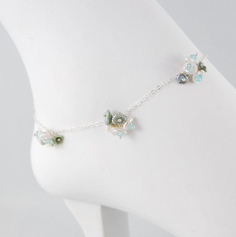 Sterling Anklet White Keishi Blossoms with Apatite Gemstones - product images  of