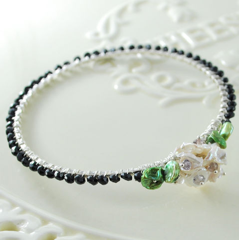 Flower,Jewelry,Black,Spinel,Bangle,with,Keishi,Pearl,and,Blossom,in,Sterling,Silver,Bracelet,gemstone,gemstone_bangle,semiprecious,jewellery,keishi_pearl,black_spinel,black_spinel_bangle,black_spinel_jewelry,black,sterling_silver,black_bangle,flower_jewelry,flower_bangle,keishi_freshwater_pearl