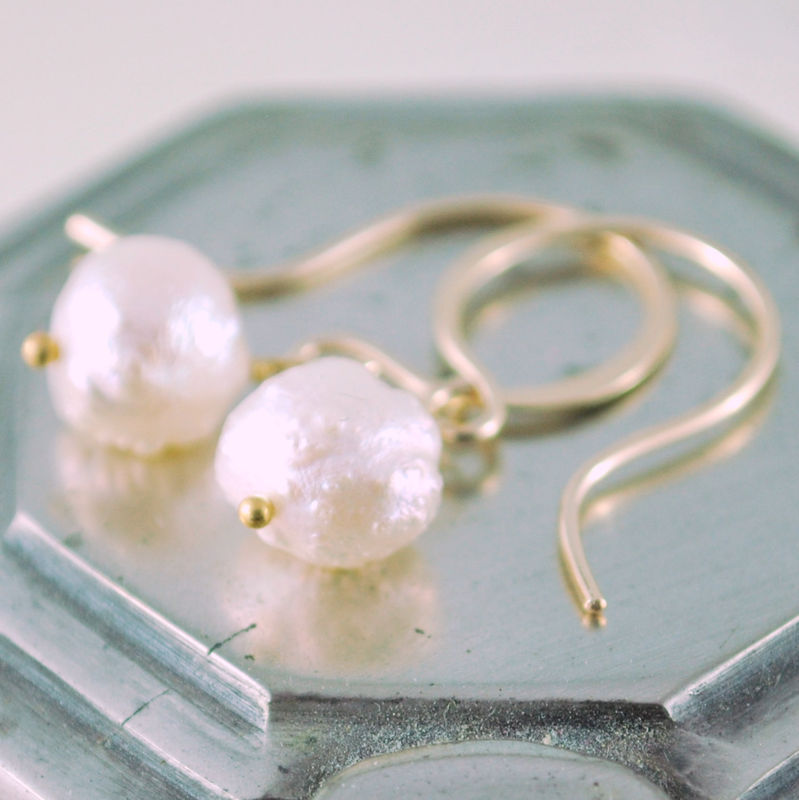 Pearl Earrings Snowball Druzy Drusy Pearls in Gold - product images  of