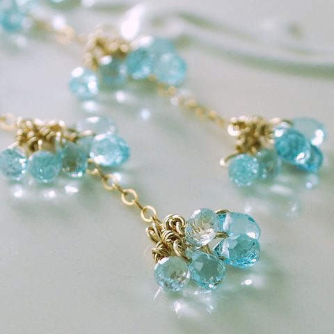 Long,Blue,Topaz,Earrings,in,Gold,Jewelry,Wire_Wrapped,gemstone,long,dangly,elegant,birthstone,glittery,blue_topaz,semiprecious,teardrop,pale,jewellery,sky,December,gold_filled