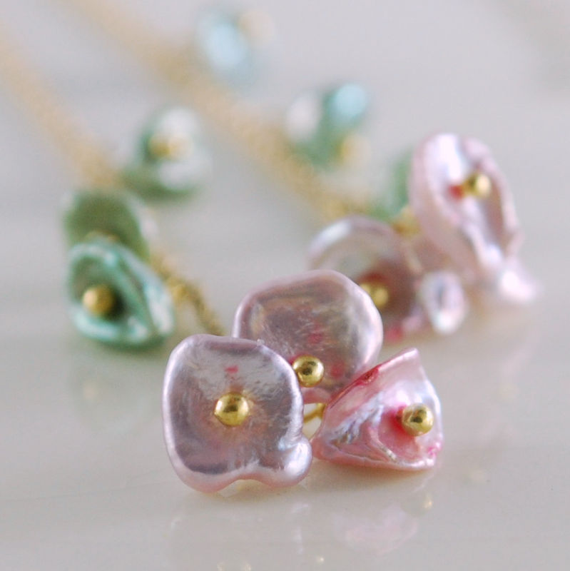 Keishi Keshi Pearl Earrings Threaders Gold Jewelry - Pink Blossoms - product images  of