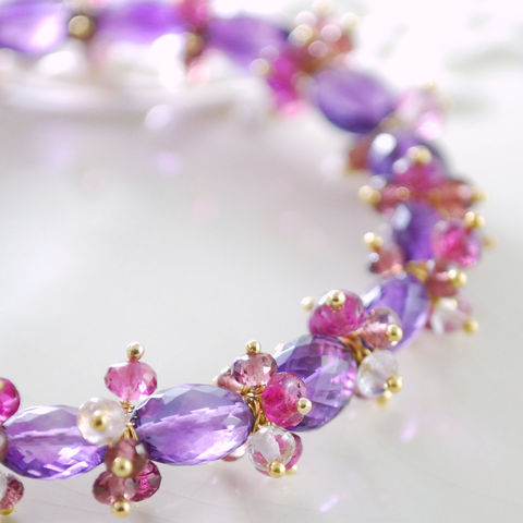 Gemstone,Bracelet,Gold,Jewelry,with,Amethyst,,Rubilite,Garnet,,Pink,Tourmaline,and,Amethyst,Wire_Wrapped,gemstone_bracelet,gemstone_jewelry,amethyst_bracelet,amethyst_jewelry,gemstone,semiprecious,birthstone,gold,vermeil,gold_filled,purple,pink,aaa,gold_fill,amethyst,pink_tourmaline,rubilite_garnet,pink_amethyst,gold_vermeil