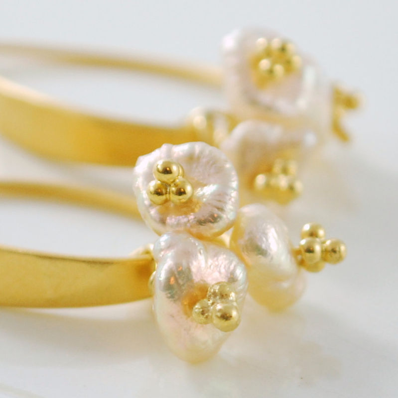 Peach Keishi Pearl Earrings Trio Gold Jewelry - product images  of