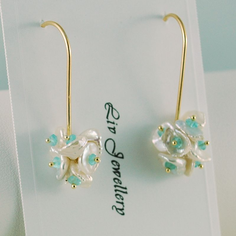 White Keishi and Apatite Blossoms on Long Gold Earwires - product images  of